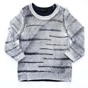 INC Women's Boho Trendy White Blue Knit Sweater XL